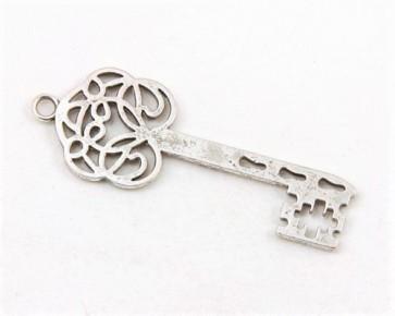 Schmuckanhänger, Metallanhänger Schlüssel, antik silberfarbig, 60x22mm