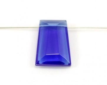 Kristallglas Anhänger Trapez facettiert, blau, 29 x 21 mm