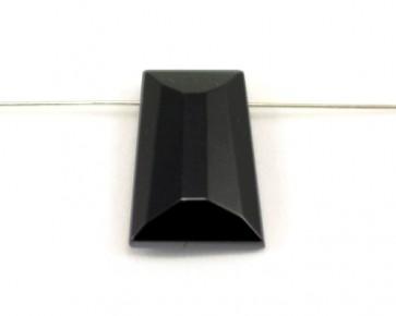 Kristallglas Anhänger Trapez facettiert, schwarz, 29 x 21 mm