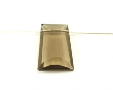 Kristallglas Anhänger Trapez facettiert, rauchbraun, 29 x 21 mm