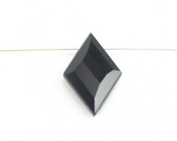 Kristallglas Anhänger Karo facettiert, schwarz, 32 x 20 mm