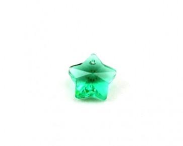 Glas-Anhänger, facettierter Stern, grün, 13 x 13 mm, 2 Stk.