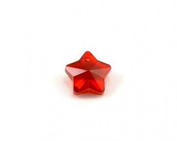 Glas-Anhänger, facettierter Stern, rot, 13 x 13 mm, 2 Stk.