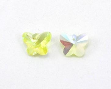 Glasanhänger Schmetterling facettiert, hellgelb AB, 15x12mm, 4Stk