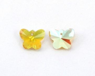 Glasanhänger Schmetterling facettiert, goldgelb AB, 15x12mm, 4Stk