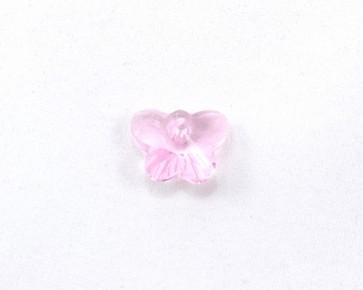 Glas-Anhänger, Schmetterlinge facettiert, rosa, 15x12mm, 4 Stk.