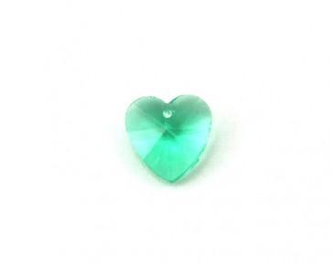 Glas-Anhänger, Herz facettiert, smaragd-grün, 14 x 14 mm, 4 Stk.