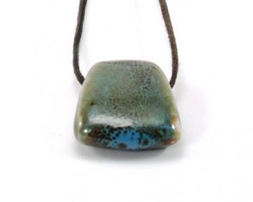 Schmuckanhänger, Trapez, Porzellan, blau/braun, 32 x 29 mm, 1 Stk.