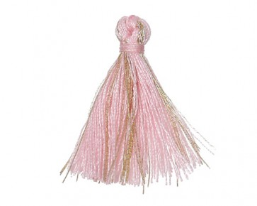 Mini Schmuckquasten, Baumwolle, rosa-gold, 25mm, 3 Quasten