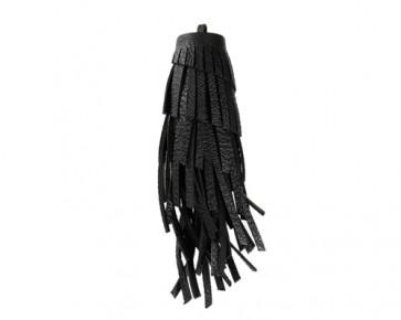 XL Lederquasten Anhänger, Kunstleder, schwarz, 12 cm, 1 Quaste