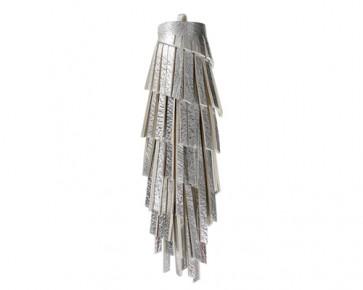XL Lederquasten Anhänger, Kunstleder, silber, 12 cm, 1 Quaste