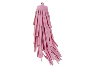 XL Lederquasten Anhänger, Kunstleder, rosa, 12 cm, 1 Quaste