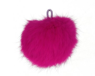 Angora Fellpuschel, Fellbommel, Ø 80mm, hot pink / fuchsia, 1 Stk.