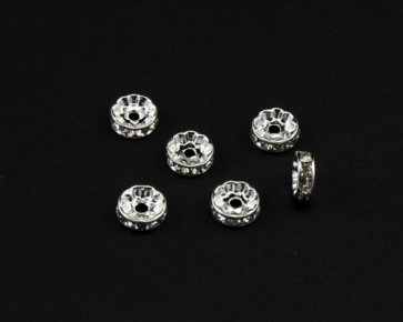 Strassrondellen, 6 mm, platinfarbig, klarer Strass, 10 Perlen