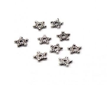 Metallperlen, Spacer, 9mm, antik silberfarbig, Stern, 30 Perlen