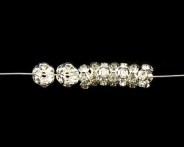 Strassrondellen, 6 mm, silberfarbig, klarer Strass, 10 Perlen