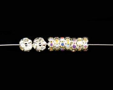 Strassrondellen, 8mm, silberfarbig, Strass kristall AB, 10 Perlen