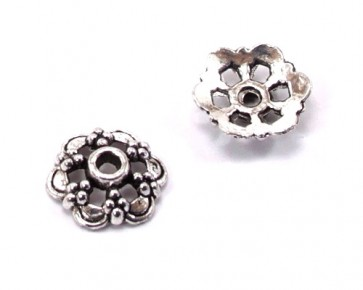 Perlenkappen, antik silberfarbig, 13 mm, Blume, 20 Perlkappen.