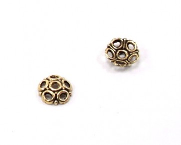Perlenkappen, Perlkappen antik goldfarbig, 8 mm, Blume, 20 Stk.
