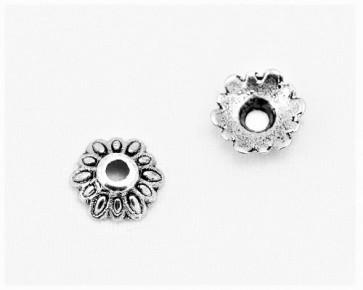 Perlenkappen, antik silberfarbig, 8 mm, Blume, 20 Perlkappen