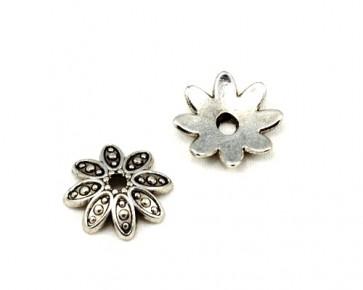 Perlenkappen, Tibetsilber, antik silberfarbig, 15 mm, Blume, 20 Stk.