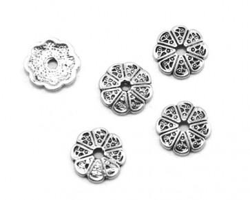 Perlenkappen, antik silber, Tibetsilber, 14 mm, Blume, 20 Perlkappen