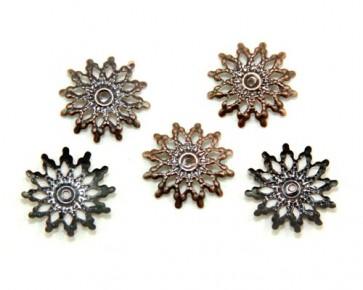 Perlenkappen, antik kupfer, 18 mm, filigraner Stern, 40 Perlkappen
