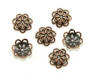 Perlenkappen, antik kupfer, 14 mm, Blume, 20 Perlkappen