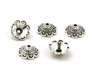 Perlenkappen, antik silber, 14 mm, Blumenkelch konisch, 20 Perlkappen