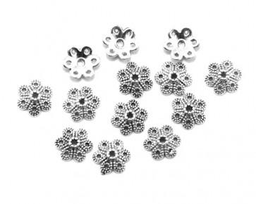 Perlenkappen, antik silber, Ø10 mm, Blumen, 20 Perlkappen