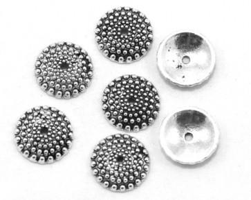 Perlenkappen, antik silber, Ø15 mm, rund gepunktet, 10 Perlkappen