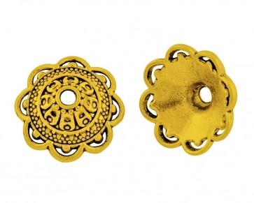 Perlenkappen, antik goldfarbig, ø14mm, Blumenkelche konisch, 20 Perlenkappen