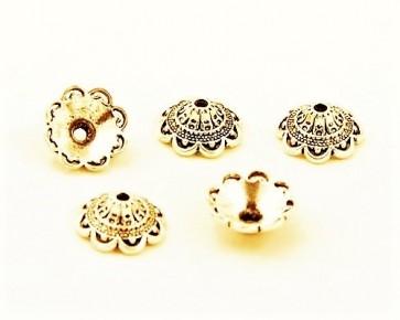 Perlenkappen, antik goldfarbig, ø14mm, Blumenkelche, 20 Perlenkappen