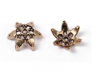 Perlenkappen, antik hell goldfarbig, ø12mm, Stern-Blume, 20 Perlenkappen