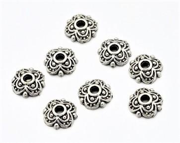 Perlenkappen, antik silber, Ø8 mm, Blumen, 20 Perlkappen