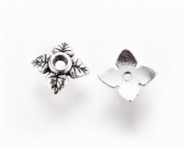 Perlenkappen, antik silber, Ø 6 mm, Blumen 4-blättrig, 20 Perlkappen