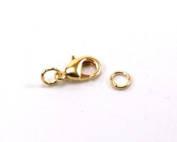 Karabinerverschluss, goldfarbig, 12 x 7 mm, 10 Verschlüsse