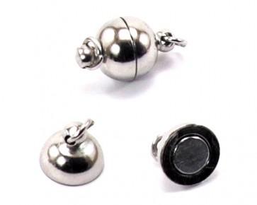 Schmuckverschlüsse, Magnetverschlüsse, silber- / platinfarbig, 12 x 8 mm, 4 Stk.