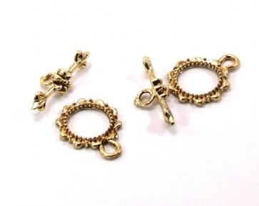 Knebelverschlüsse, antik goldfarbig, 16 mm, XL-Pack 20 Schmuckverschüsse
