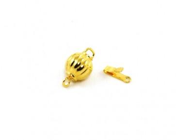 Schmuckverschlüsse, Steckverschlüsse, vergoldet, rund gerippt, 8 mm, 2 Stk.