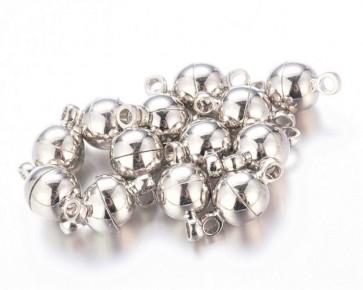 Magnetverschlüsse, silberfarbig, rund, 11 x 6 mm, 6 Stk.