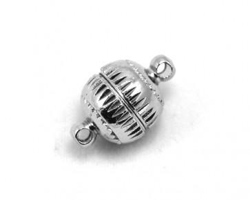 Magnetverschlüsse, platinfarbig, rund mit Muster, 16x10mm, 3 Stk.