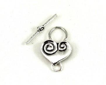 Schmuckverschluss, Knebelverschluss, Herz, antik versilbert, 22 mm, 2 Stk.