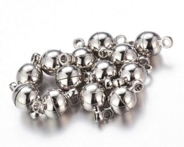 Magnetverschlüsse, silberfarbig, platinfarbig, rund, 11 x 6 mm, 6 Stk.