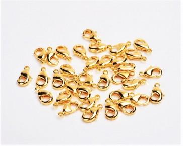 Karabinerverschlüsse, goldfarbig, 10 x 5 mm, 10 Schmuckverschlüsse