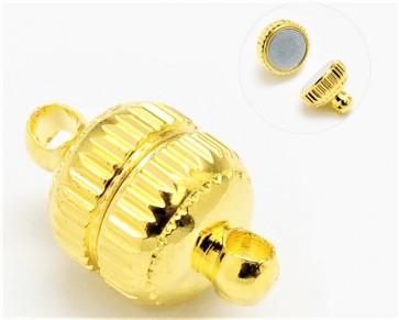 Schmuckverschlüsse, Magnetverschlüsse, goldfarbig rund mit Muster, 14x8mm, 3 Stk.