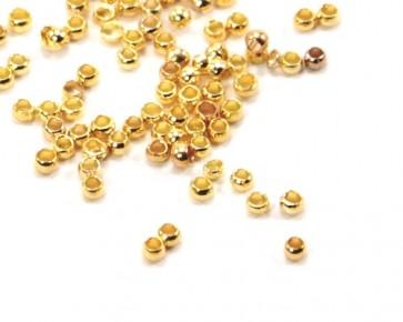 Quetschperlen, goldfarbig, 2 mm, 100 Stk.