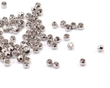 Quetschperlen, platinfarbig / silberfarbig, 2 mm, 100+ Stk.