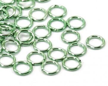 Biegeringe, 6 mm, grün, offen, Aluminium, 50 Schmuckösen