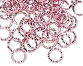 Biegeringe, Schmuckösen, 8 mm, rosarot, offen, Aluminium, 50 Stk.